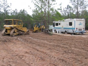 The jobsite near Newton,TX  -- February 2009. Notice the external propane tanks.