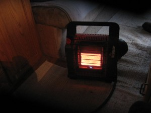 Little Buddy portable propane heater for a recreational vehicle